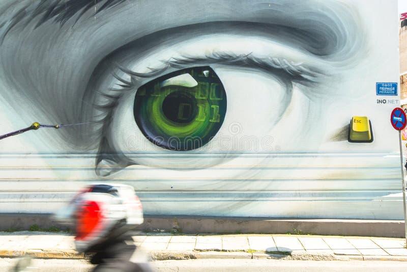 Arte contemporáneo de la pintada en las paredes de la ciudad Las dificultades de la crisis económica griega han llevado desde 201 imágenes de archivo libres de regalías