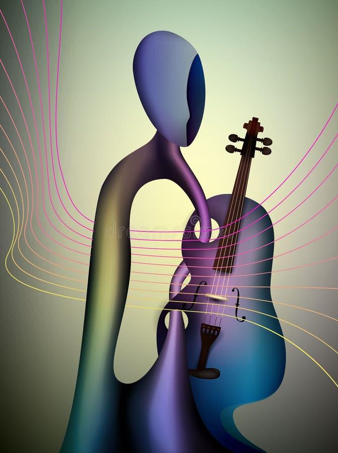 Arte contemporânea do conceito, do músico e do violino do violinista, homem e formas do surrealismo da música, violinista abst ilustração do vetor