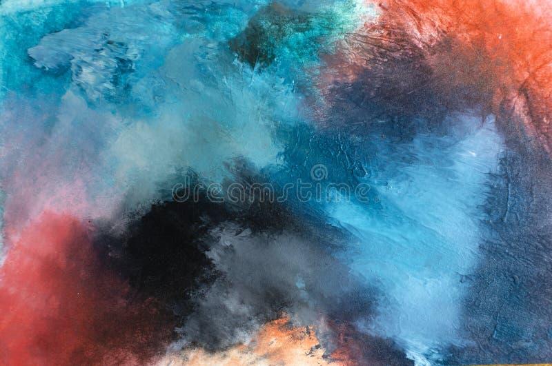 A arte contemporânea moderna acrílica do sumário textured azul foto de stock