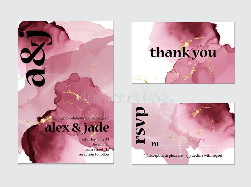 Arte cor-de-rosa do cartão de casamento do respingo da aquarela Ajuste dos cartões, rsvp e obrigado conceito Coleção do convite d ilustração do vetor