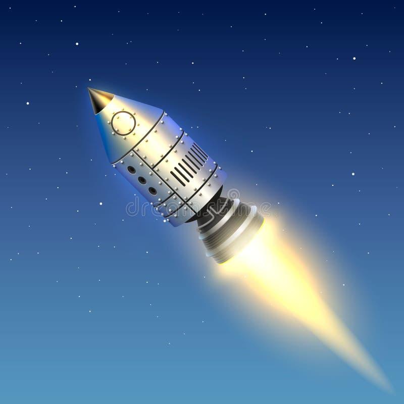 Arte creativo del lanzamiento del cohete de espacio stock de ilustración