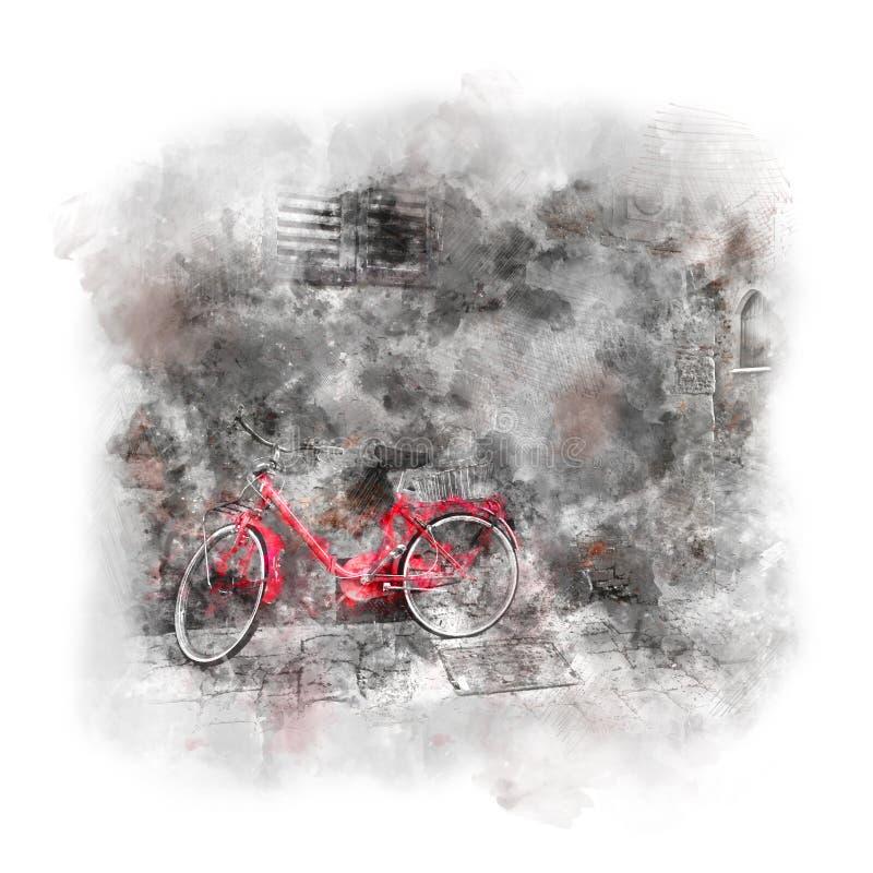 Arte da aquarela - cidade europeia velha com bicicleta vermelha ilustração do vetor