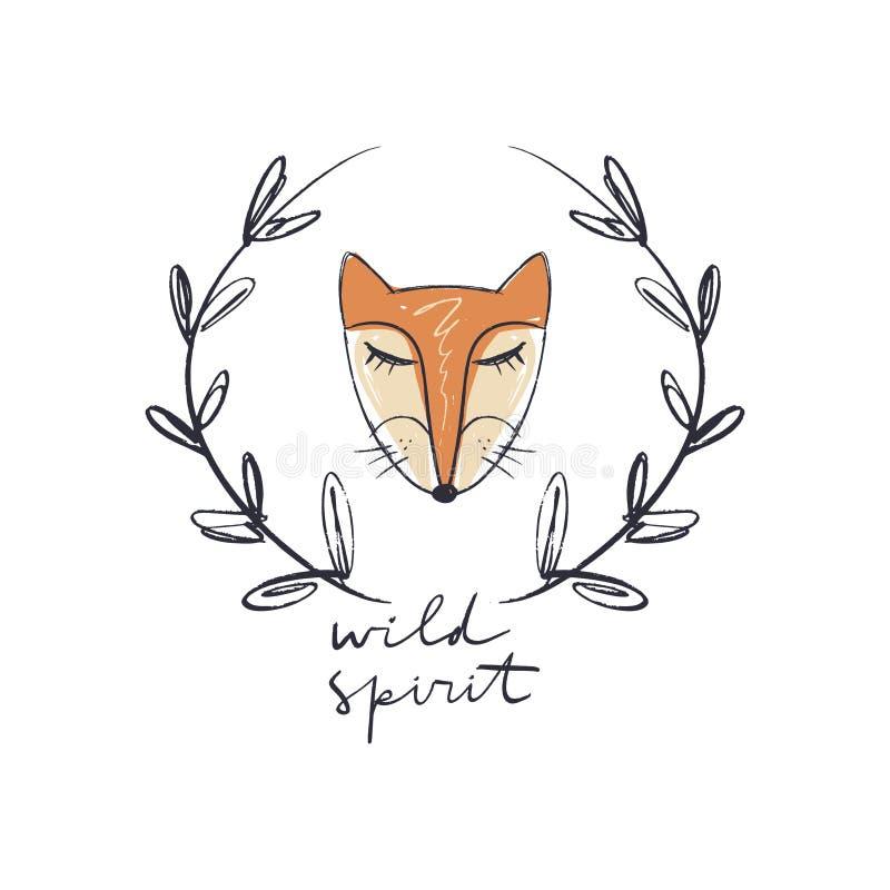 Arte da cara da raposa da menina Espírito selvagem que rotula a inscrição no quadro tribal do boho ilustração do vetor