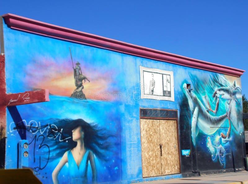 Arte da construção na movimentação do rodeio em Puerto Penasco, México foto de stock