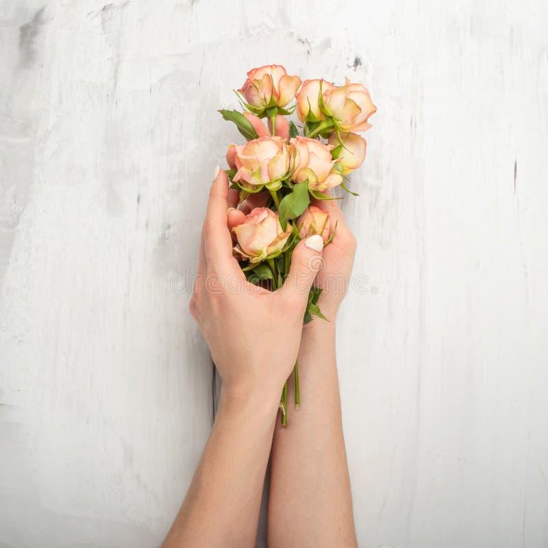 Arte da forma da mão da mulher com as flores em sua mão, rosas em sua mão com composição de contraste brilhante Foto criativa da  imagem de stock