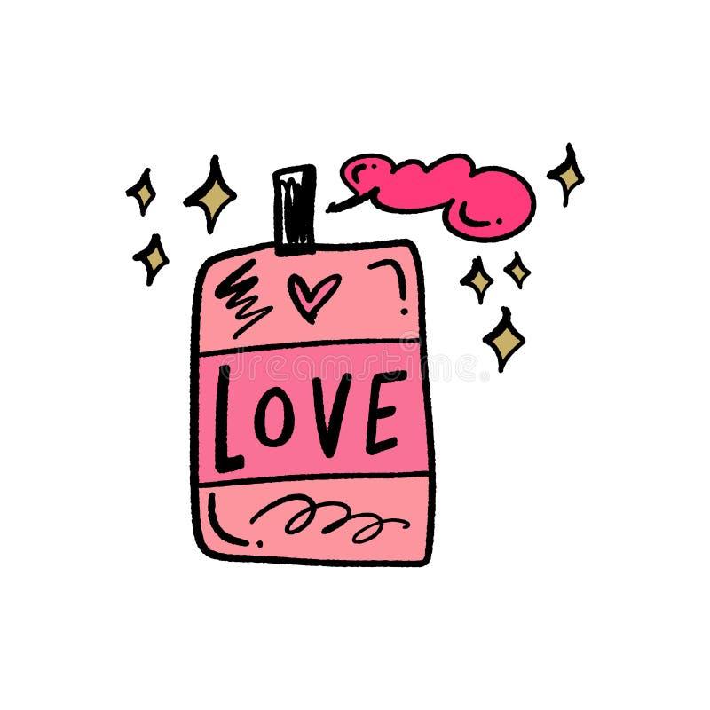 Arte da garatuja do pulverizador da garrafa do amor Ilustração do vetor ilustração do vetor