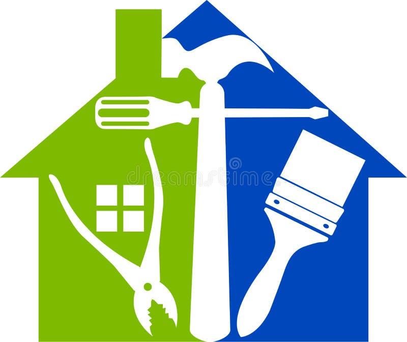 A casa utiliza ferramentas o logotipo ilustração royalty free