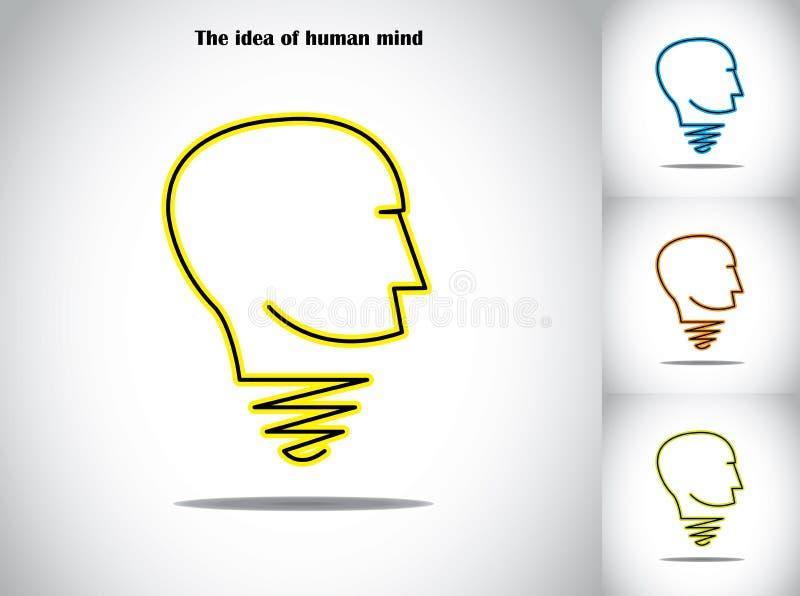 Arte da ilustração do conceito do sumário da ideia da ampola de cabeça humana ilustração royalty free