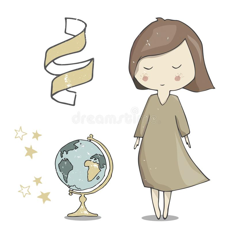 A arte da ilustração da menina e do globo vector o elemento geométrico franco do texto da cor do navegador do estudante do aluno  ilustração stock