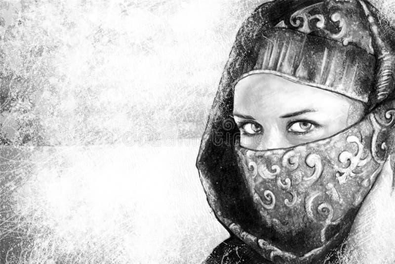 A arte da ilustração, mulher vestiu-se no traje árabe, deserto no b ilustração stock
