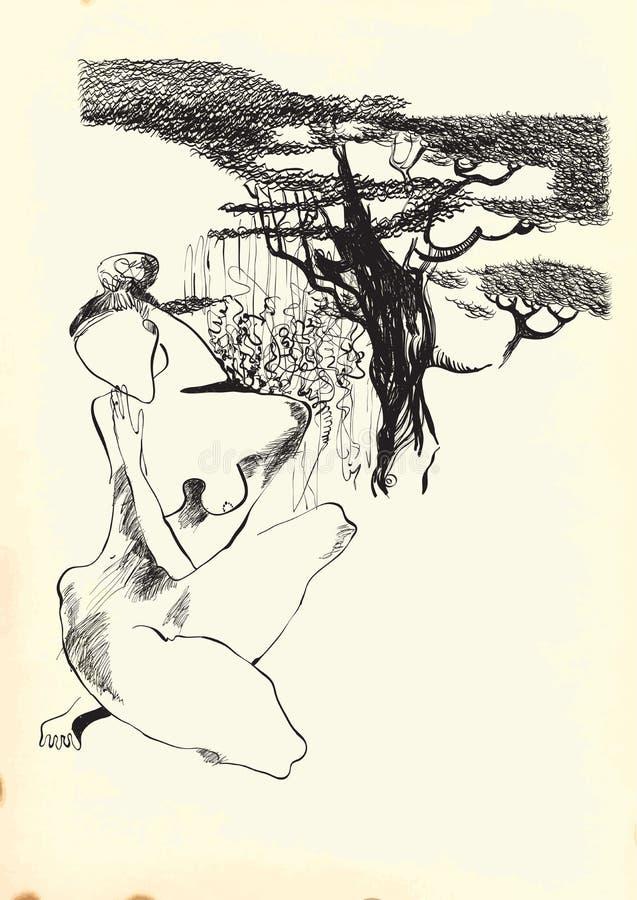 Arte da linha arte - mulher despida ilustração do vetor