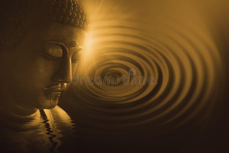 Arte da meditação da calma do zen do pêssego da cara da Buda para o fundo da decoração fotos de stock royalty free
