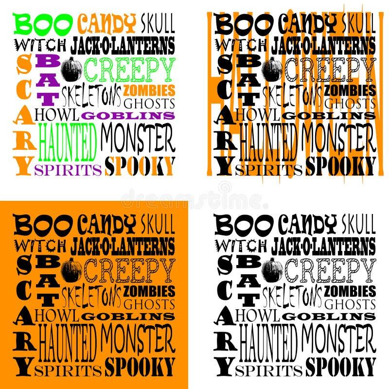 Arte da palavra de Dia das Bruxas - grupo de 4 ilustração stock