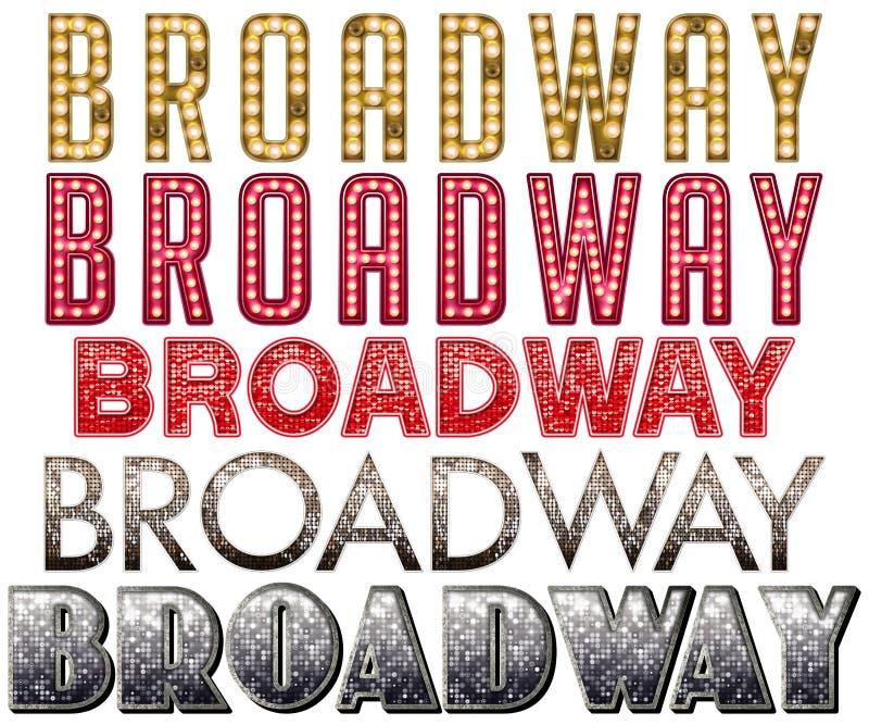 Arte da palavra do famoso de Broadway ilustração stock