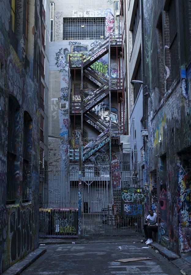 Arte da parede da aleia de Melbourne fotos de stock