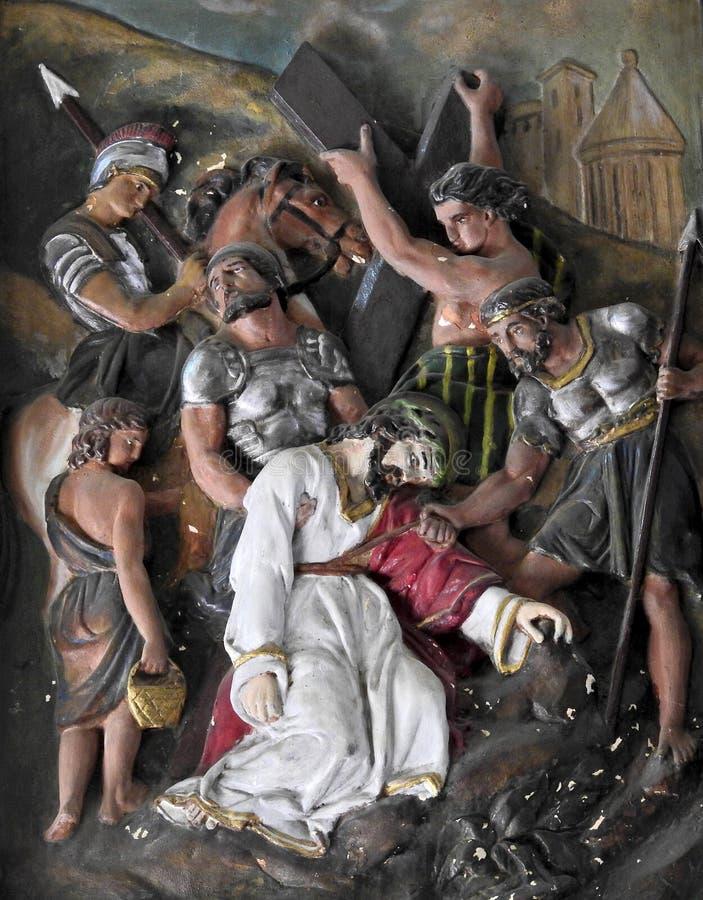 Arte da parede da crucifica??o de Jesus Christ imagem de stock