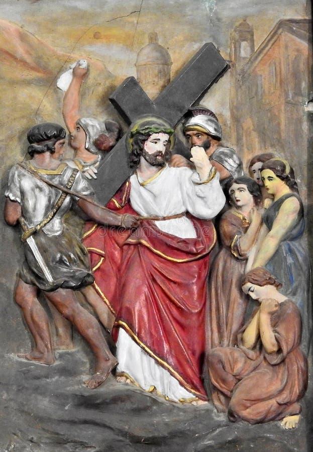 Arte da parede da crucifica??o de Jesus Christ imagens de stock
