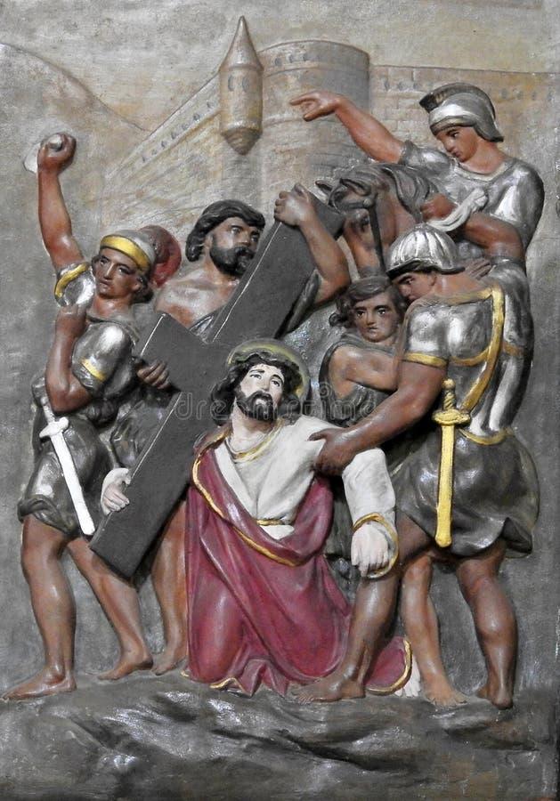 Arte da parede da crucifica??o de Jesus Christ foto de stock royalty free
