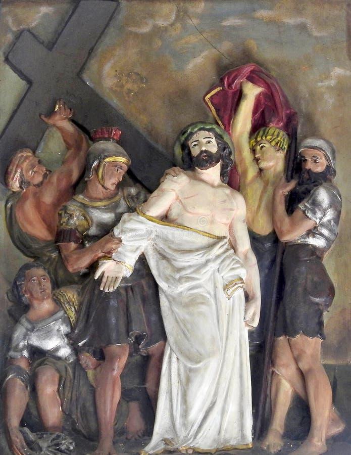 Arte da parede da crucifica??o de Jesus Christ imagem de stock royalty free