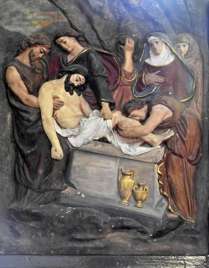 Arte da parede da crucifica??o de Jesus Christ fotos de stock royalty free