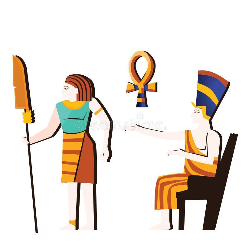 Arte da parede de Egito antigo ou vetor mural dos desenhos animados ilustração royalty free