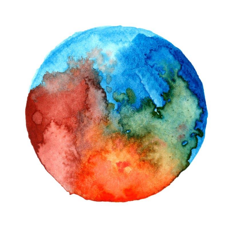 Arte da pintura da aquarela da lua do milagre fotografia de stock