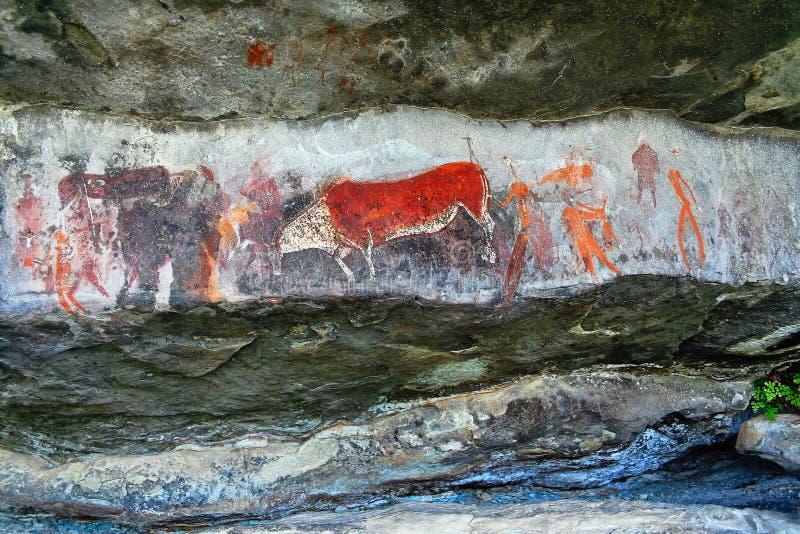 Arte da rocha do bosquímano fotografia de stock