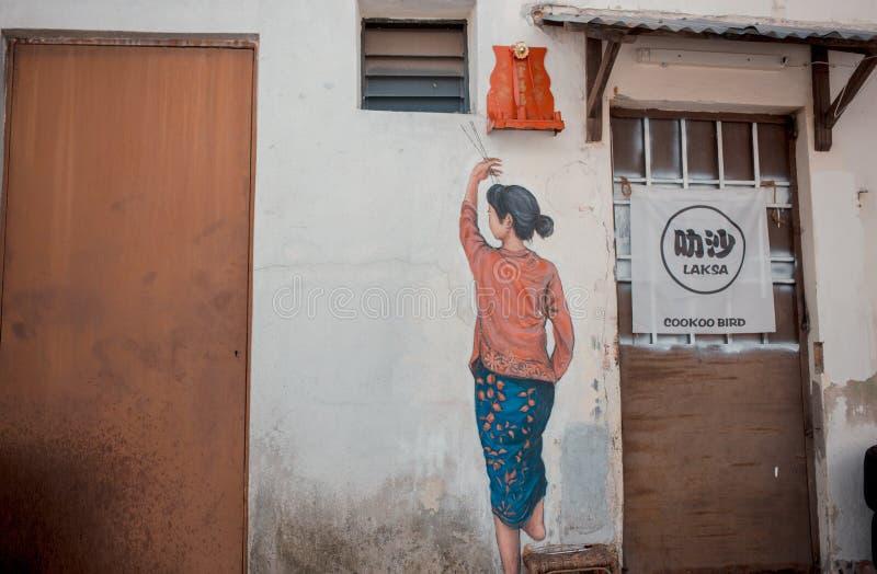 Arte da rua de Penang, Georgetown, Penang, Malásia imagem de stock