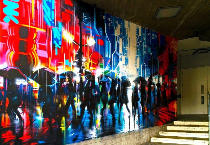 Arte da rua dos grafittis, banco sul, Londres imagens de stock royalty free