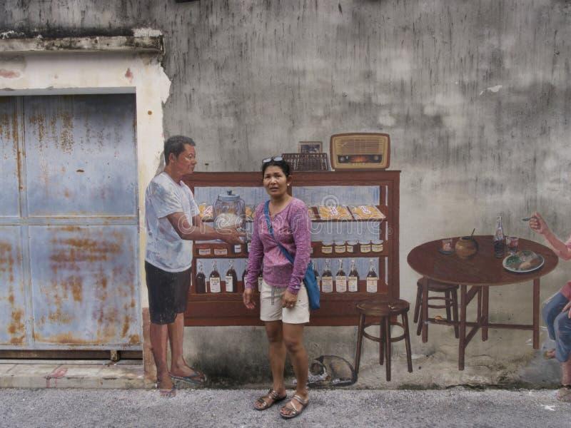 Arte da rua na parede em Songkhla Tailândia fotos de stock royalty free