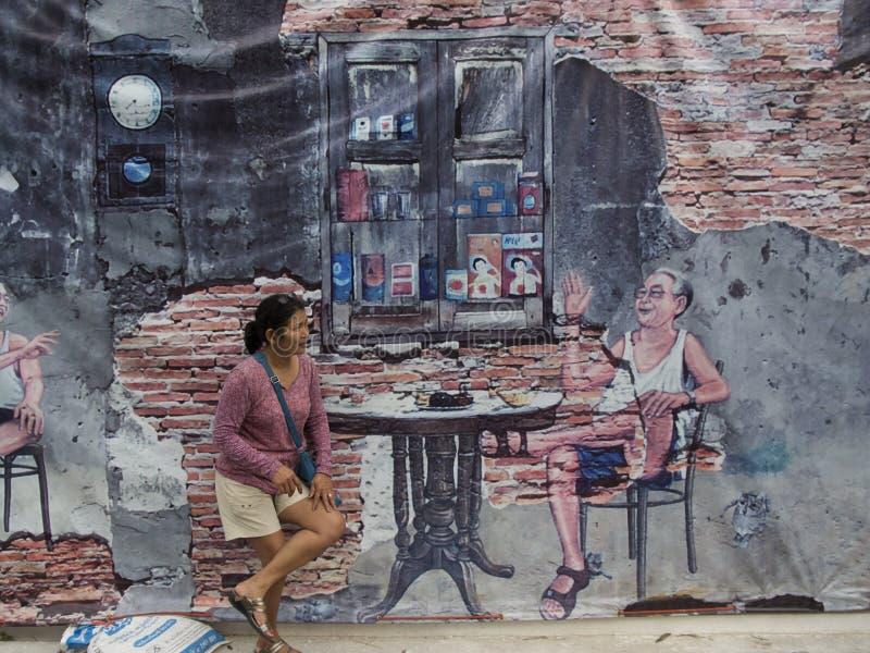 Arte da rua na parede em Songkhla Tailândia imagem de stock royalty free