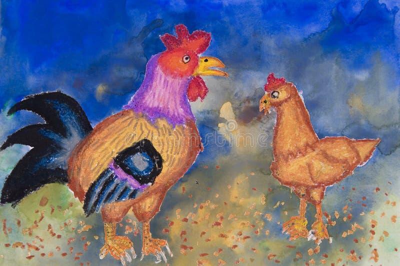 Arte das crianças - animais de exploração agrícola ilustração stock