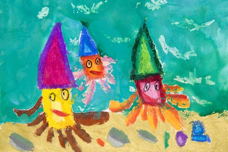 Arte das crianças - vida marinha ilustração do vetor