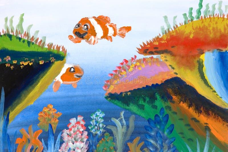 Arte das crianças - vida marinha ilustração royalty free