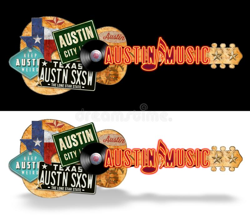 Arte de Austin Guitar Vintage Artwork Folk foto de stock royalty free