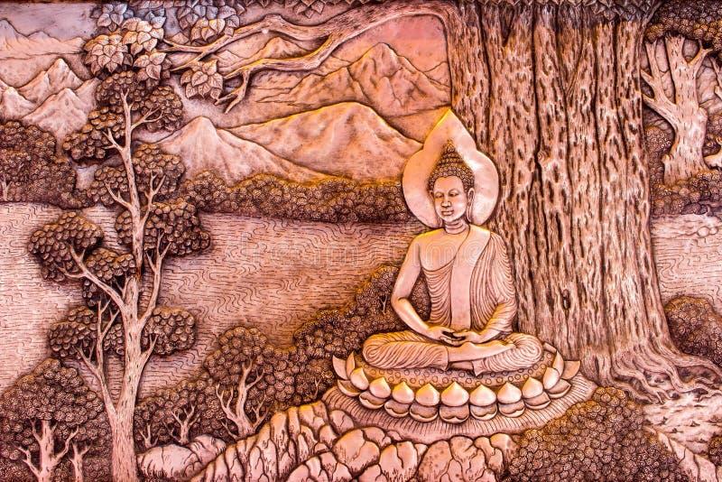 Arte de cinzeladura de prata do estilo tailandês na parede do templo, Wat Srisuphan, Ch fotografia de stock royalty free