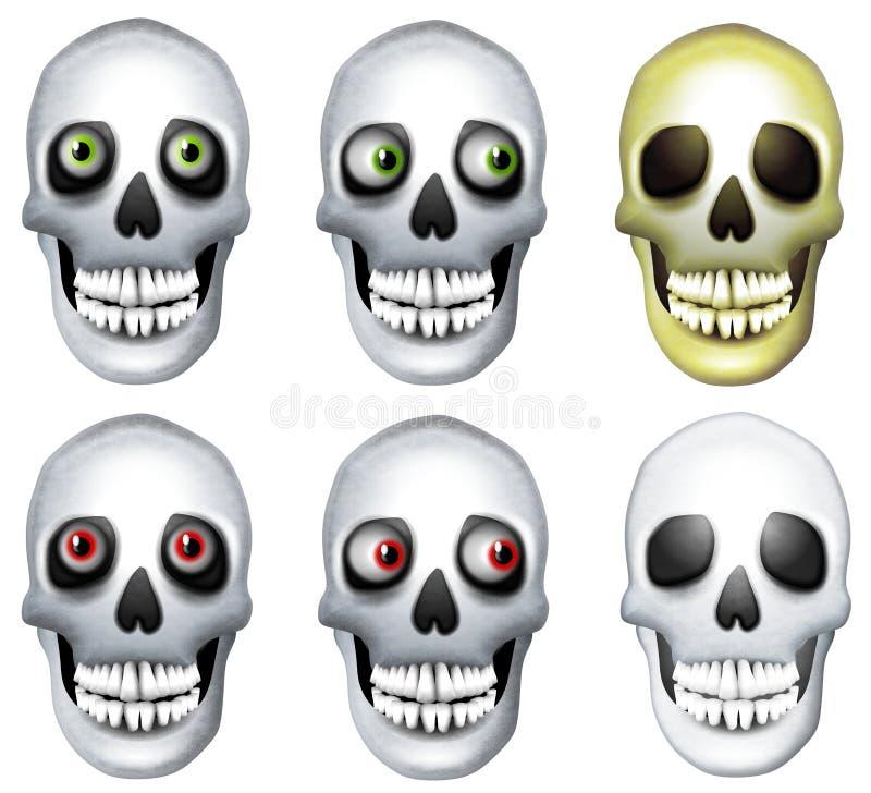 Arte de clip humano de los cráneos stock de ilustración