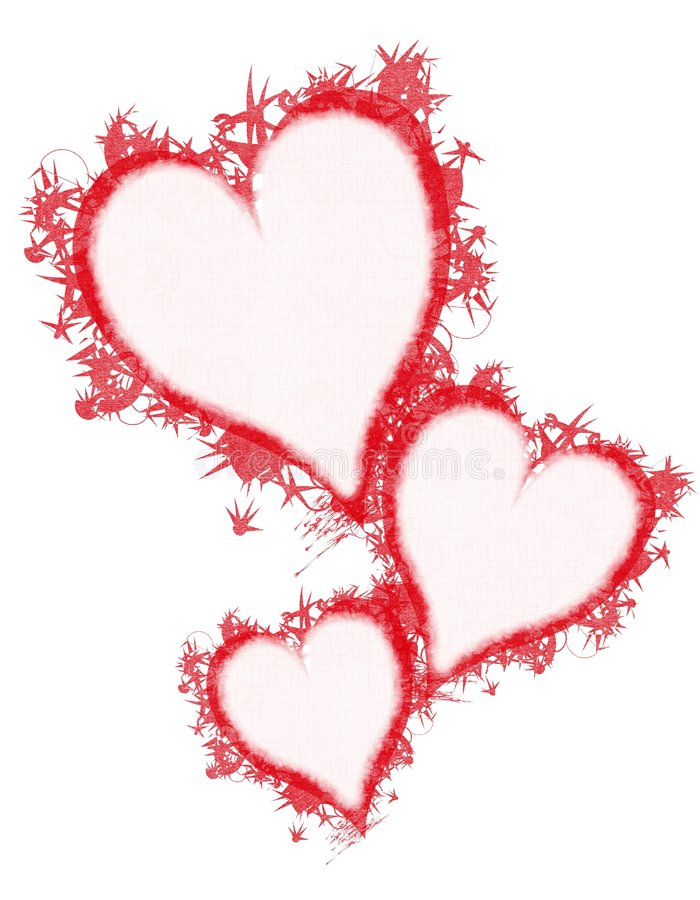 Arte de clip rojo de los corazones de Grunge de la pluma ilustración del vector