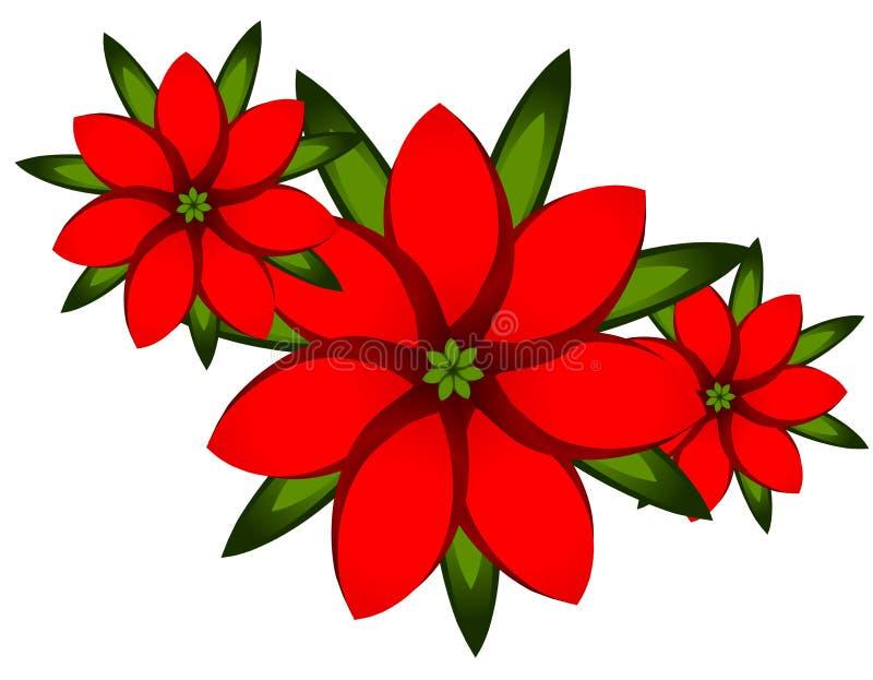 Arte de clip rojo del Poinsettia de Navidad stock de ilustración