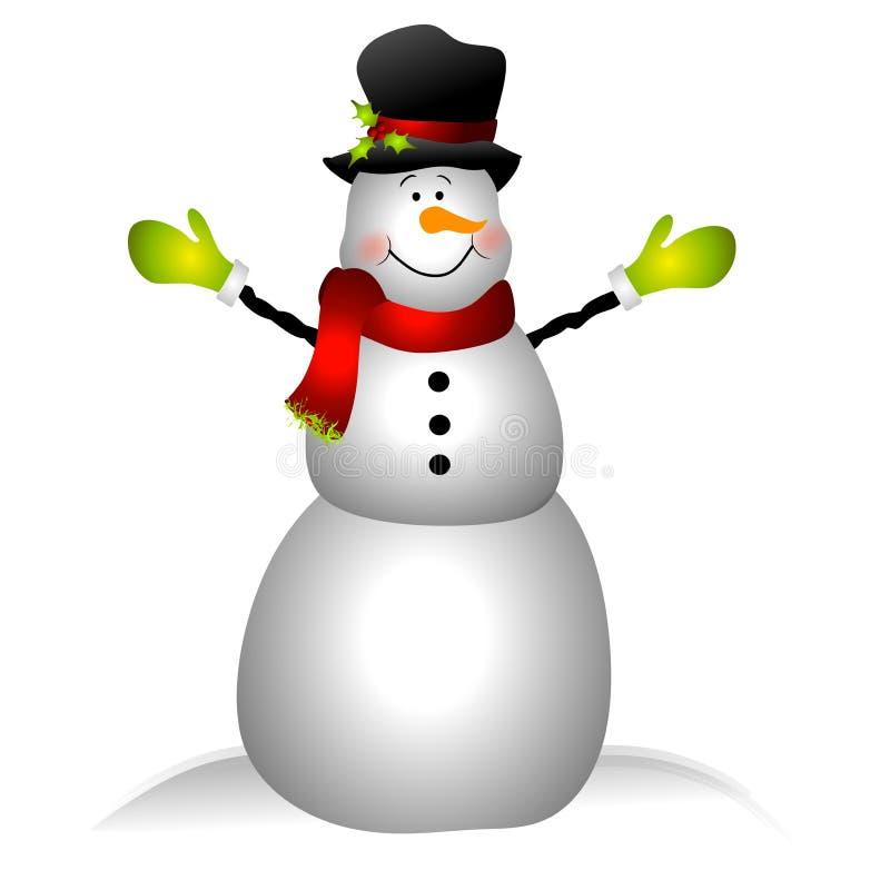 Arte de clip sonriente del muñeco de nieve aislado stock de ilustración