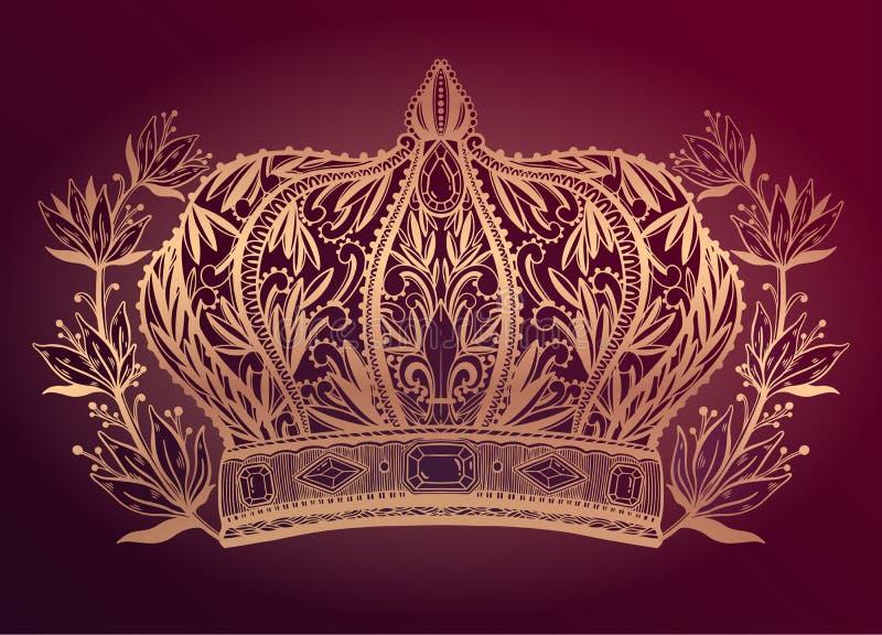 Arte de dibujo elegante del rey y de la reina de la corona Color oro en fondo rojo stock de ilustración