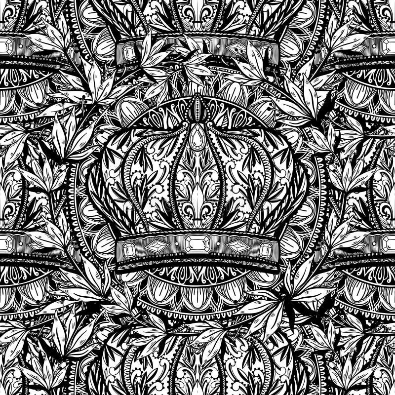 Arte de dibujo elegante incons?til del rey y de la reina de la corona del modelo Color negro en el fondo blanco Ilustraci?n del v ilustración del vector