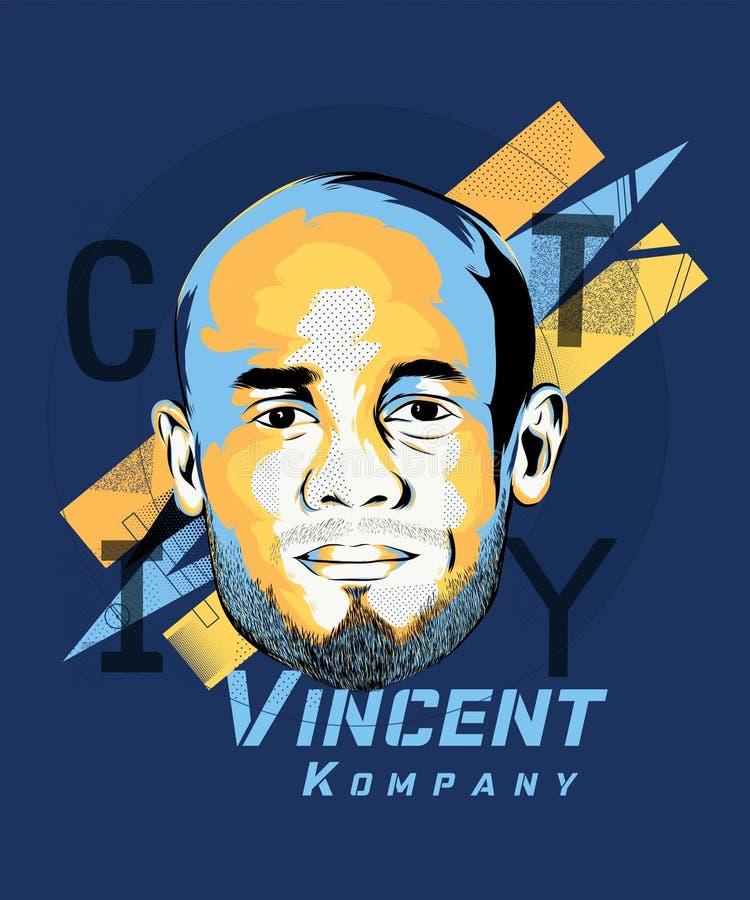 Arte de Digitas de Vincent Kompany - jogador de futebol belga ilustração do vetor
