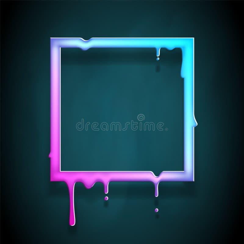 A arte de fluxo de derretimento do quadro 3d flui a ilustração quadrada do vetor do molde do projeto do sumário do escape da gota ilustração royalty free
