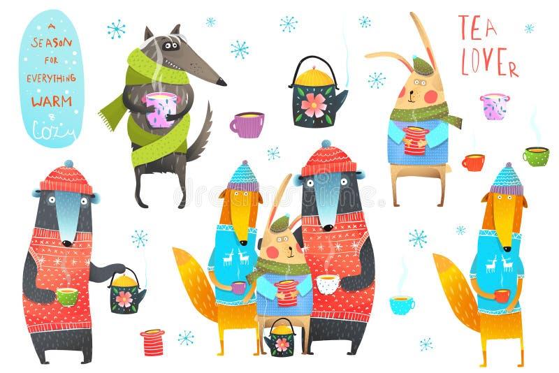 Arte de Forest Animals Drinking Tea Clip del invierno stock de ilustración