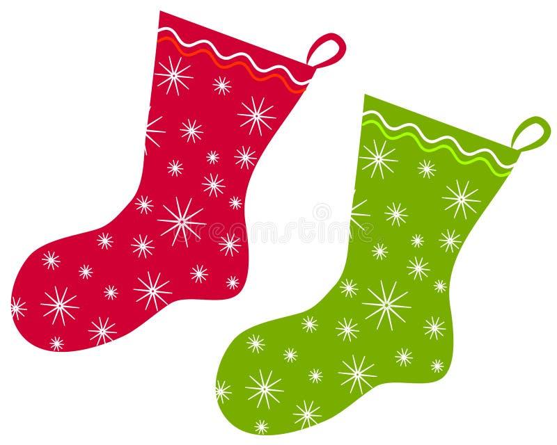 Arte de grampo 2 das meias do Natal ilustração royalty free
