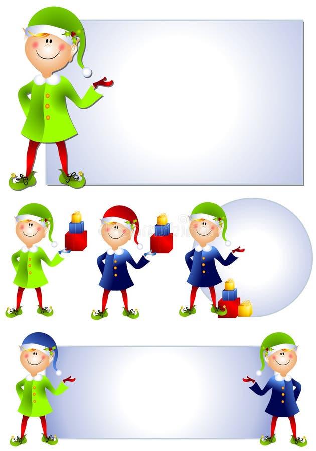 Arte de grampo 2 do duende de Santa do Natal ilustração royalty free