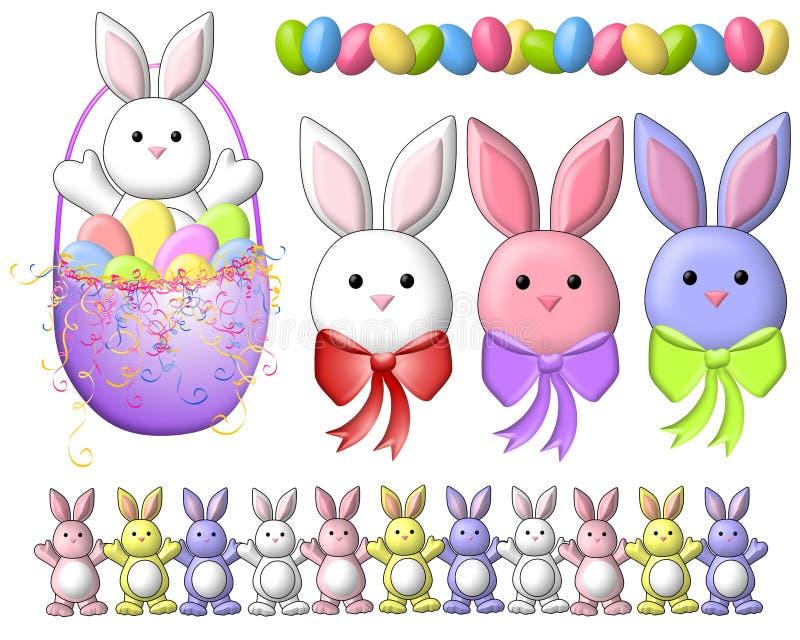 Arte de grampo 2 dos coelhos de Easter dos desenhos animados ilustração stock