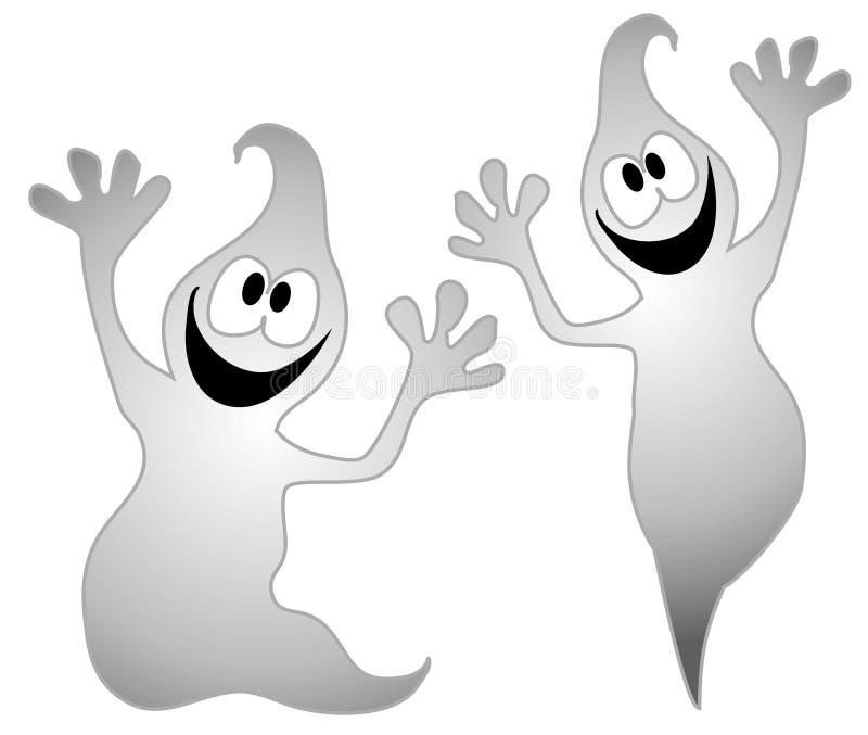 Arte de grampo 3 dos fantasmas de Halloween ilustração do vetor