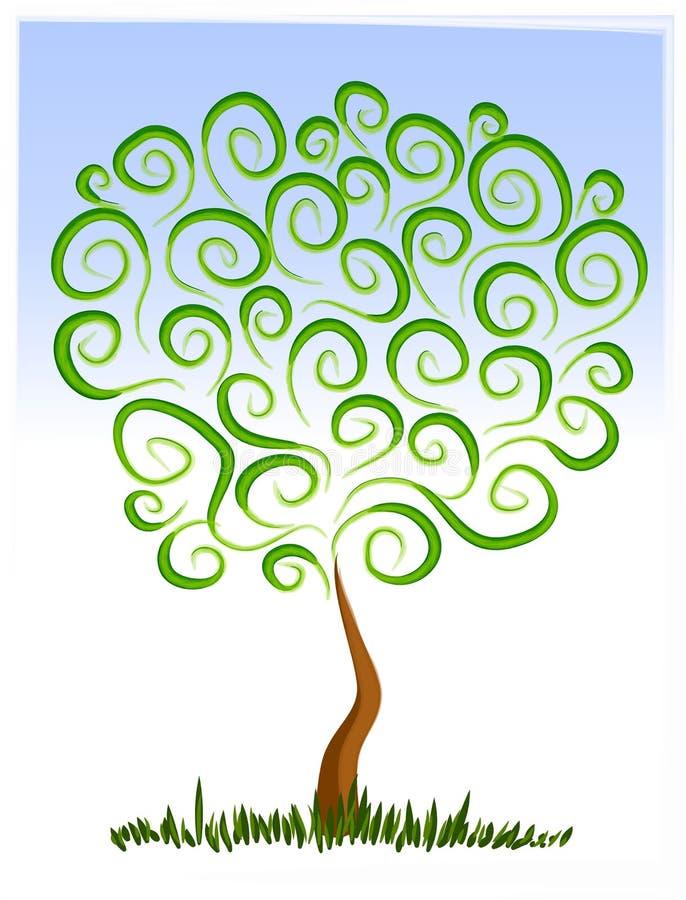 Arte de grampo crescente da árvore abstrata ilustração stock